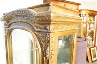 French Louis XVI Style Beveled Glass Curio Cabinet
