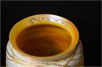 5 Antique Quezal iridized art glass lamp shades
