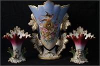 Three Old Paris porcelain vases