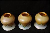 5 Antique Quezal & Lustre Art Glass lamp shades