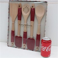 HARVEST COLLECTION Wooden Utensils w/ Silicone
