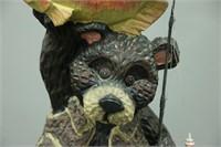 Tall Resin Black Bear w/ Fish & Rod Garden Statue