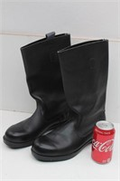 Mid Calf Black Leather Boots- Made in East Germany