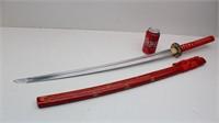 Red Bamboo Handmade KATANA Sword w/ Scabbard