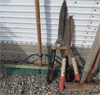 Lot of 9 Yard Tools-Shovels, Rake, Shears, Broom