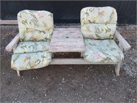 Two Seat Outdoor Wood Bench w/ Cushions