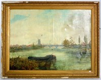 Signed J. LEWIS (British, 19th century). View across the Thames,Oil Painting on canvas signed and dated 1889 lower left. Gilt framed 37 x 47 inches.