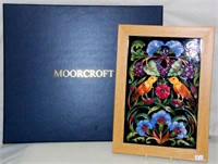 Moorcroft Rachel BISHOP Nlulla Wall Plaque. RRP �5. Signed Rachel Bishop to verso. Oak framed 37 x 26.5 cm. Boxed with sleeve.
