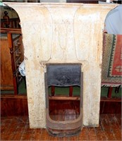 Edwardian Tall Art Nouveau Cast Iron Combination Fireplace. Height 59.5 in. Width 45 in. Depth 6.5 in. Appeture Width16 in. Height 22.5 in.