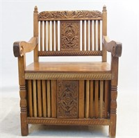 Mexican Cock Fighting Carved hard wood  Arm Chair