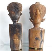 African hard-wood carved ancestral figures