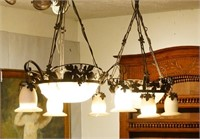 Pair Wrought iron hanging chandeliers w/ alabaster