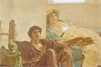 An antique color etching of a Roman Scene