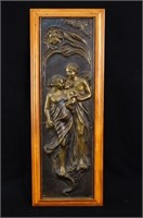 An Embossed  Art Nouveau copper relief
