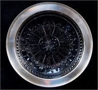Art Deco glass and sterling hors d'oeuvre plate