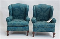 Two green handmade doll wingback armchairs