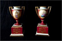 Pair of Royal Vienna figural urns
