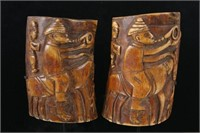 Pair of Antique Baule people  bone carved plaques
