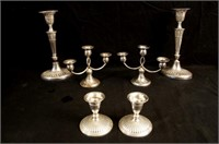 2 Pair Sterling candlesticks and pair silver plate
