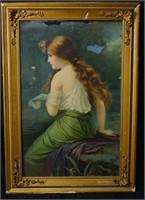 Art Nouveau Color Engraving of a woman