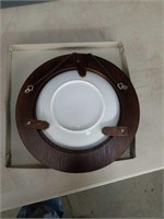 Box of nine framed Asian wall plates