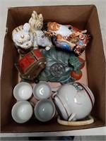Box of tea set and Asian pieces
