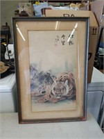 Asian block print of a tiger 18 x 24 in