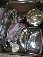 Box of silver plated trays, napkin rings etc
