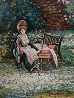Garden scene oil painting by Nicol