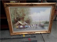Signed flower market oil painting