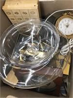 Box of vintage clocks, lights misc