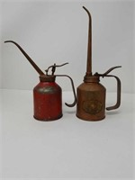 Lot of 2 antique oiler cans