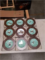 Box of 9 framed Asian wall hanging plates