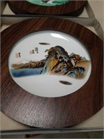Box of 9 Asian framed wall plates