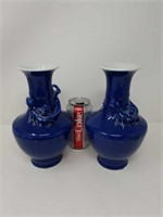 Pair of blue Asian dragon vases 8 and 1/2 in tall