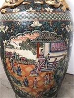 Antique Asian porcelain temple vase