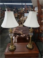 Pair of modern brass and glass lamps