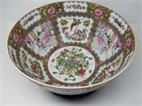 "Antique Asian hand painted porcelain bowl 14""in"