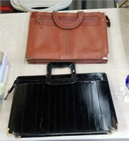 Box of 2 leather briefcases