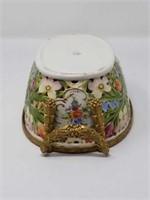 Antique pierced porcelain bowl with bronze