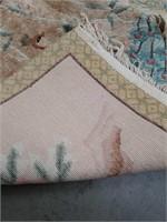 Handmade peacock rug 47 x 30 in