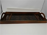 Antique wooden tray with glass inserts