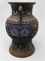 "Asian bronze and Enamel vase as is / 6""×9"""