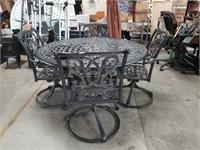 6 pc.Metal patio table ,4 chairs, umbrella