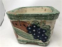 Hand painted terra-cotta flower pot