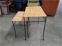 Pr of metal and rattan tables