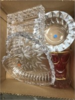 Box of cut glass pieces