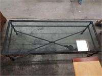 Rustic iron glass top coffee table