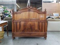Antique carved queen size bed as is missing