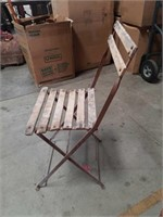 Antique metal and wood folding chair